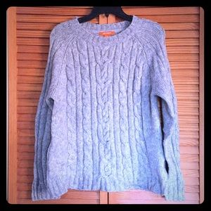 Heather Grey chunky cable sweater